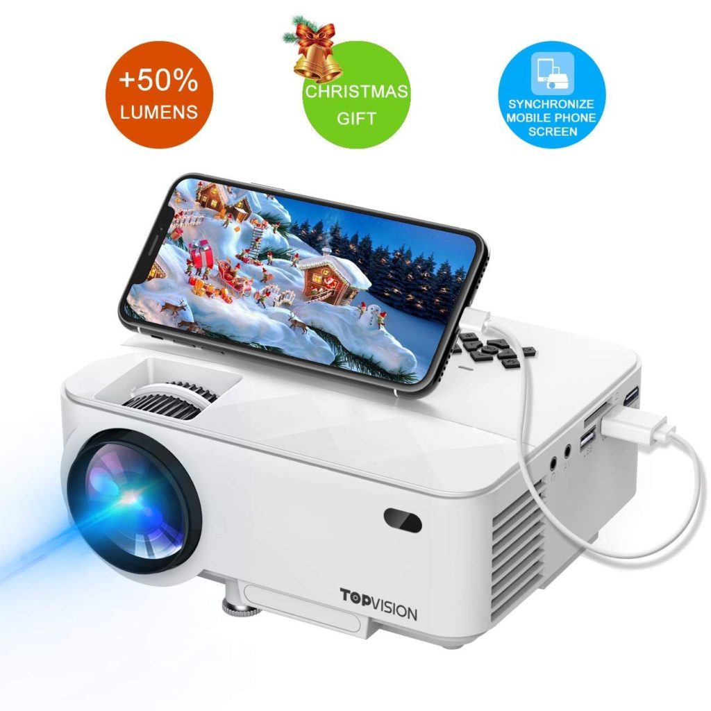 TOPVISION Mini Projector with Mirror Display